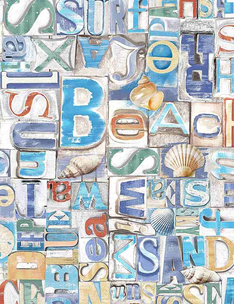 Beach Words on Wood C8459 from Timeless Treasures