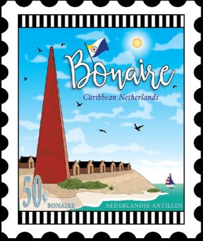 Bonaire Port Mini Stamp Fabric Panel 6 by 7