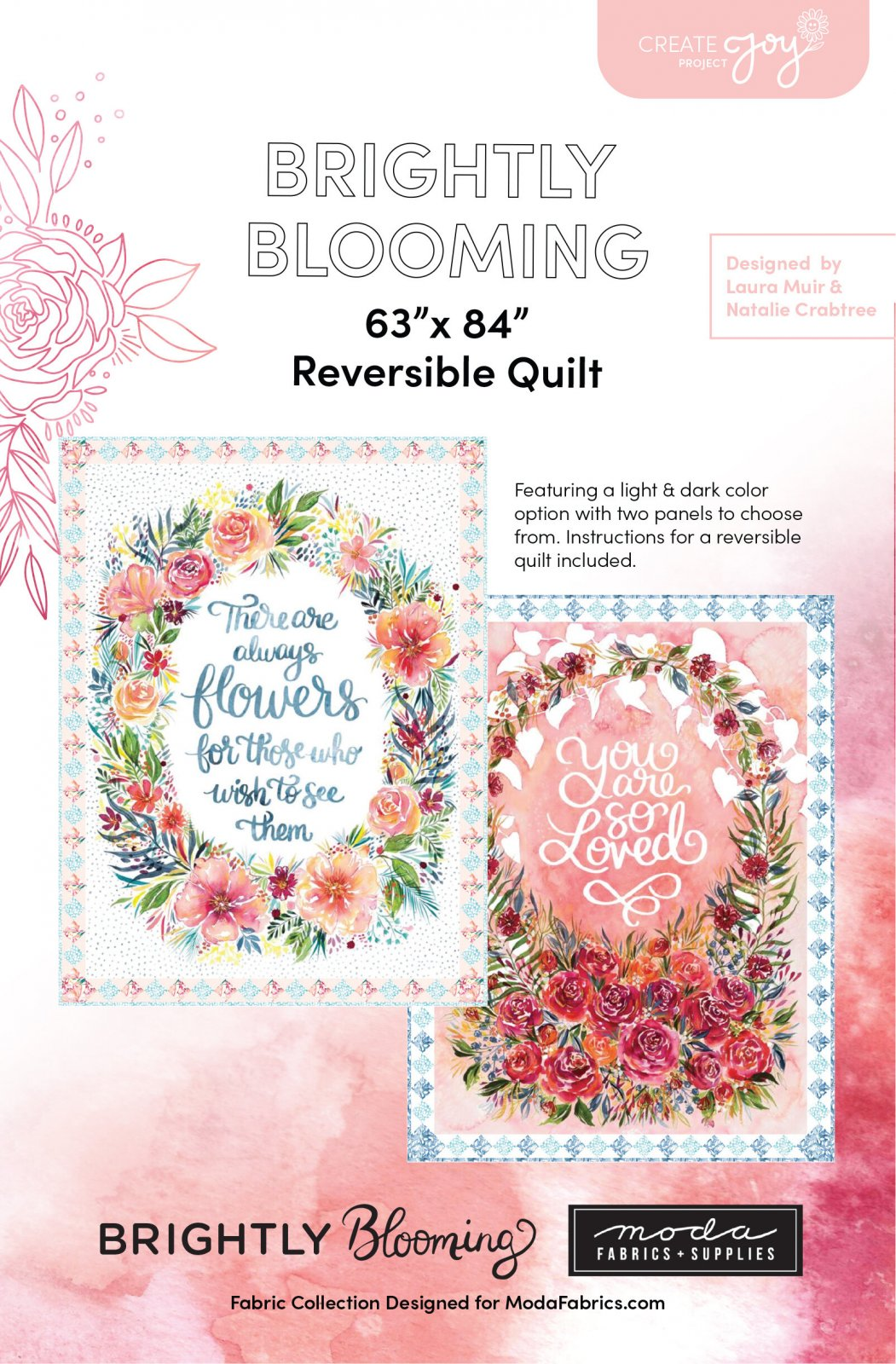 Brightly Blooming Reversible Quilt Pattern by The Create Joy Project