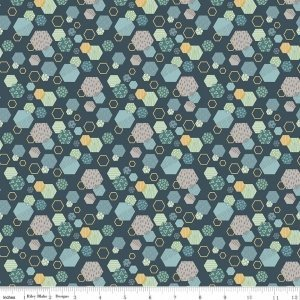 Fossil Rim Hexagon Navy C6612 Blue by Deena Rutter for Riley Blake Designs
