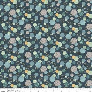Fossil Rim Hexagon Navy C6612 Blue by Deena Rutter for Riley Blake Designs