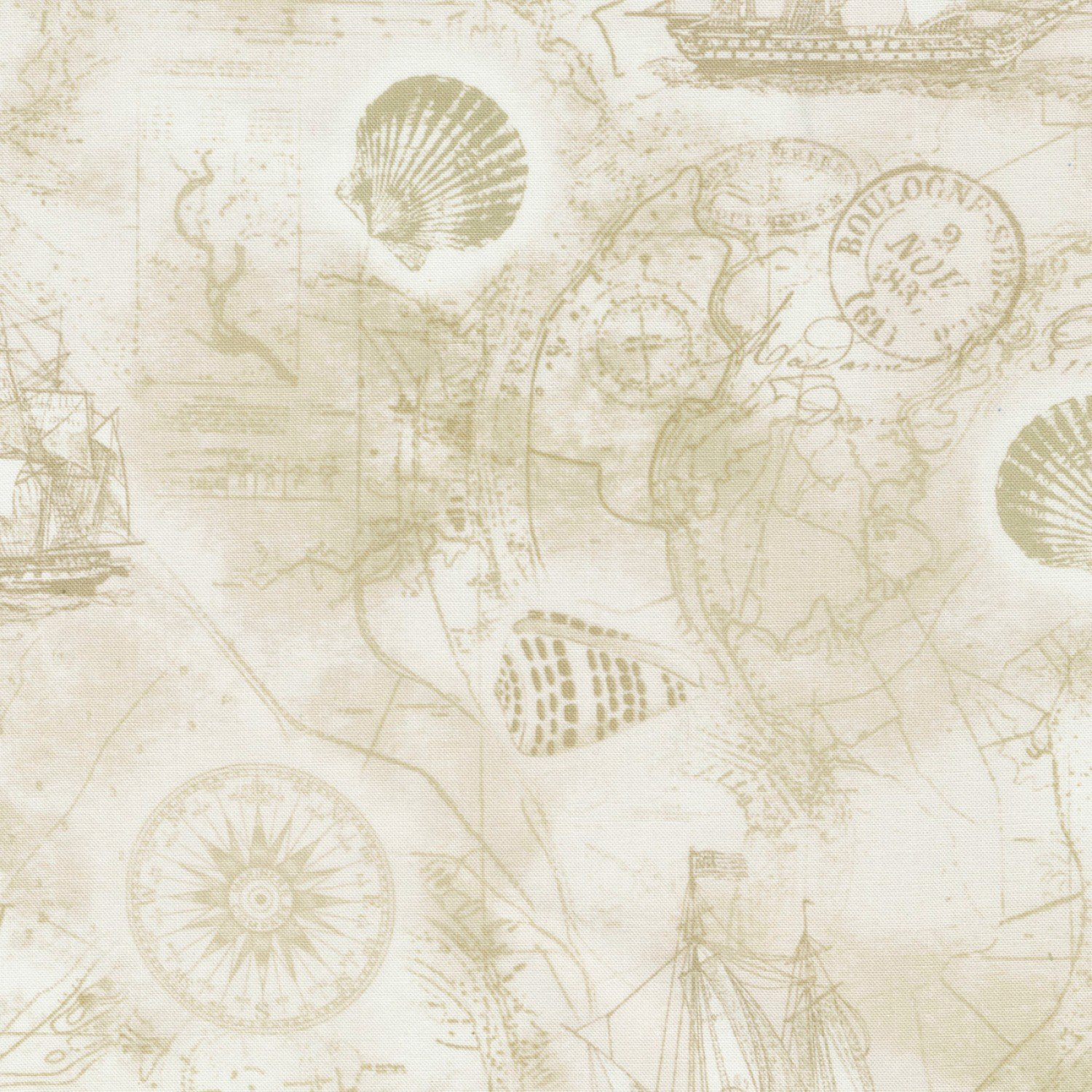 Nautical  Mile Map Beach-C6659 from Timeless Treasures