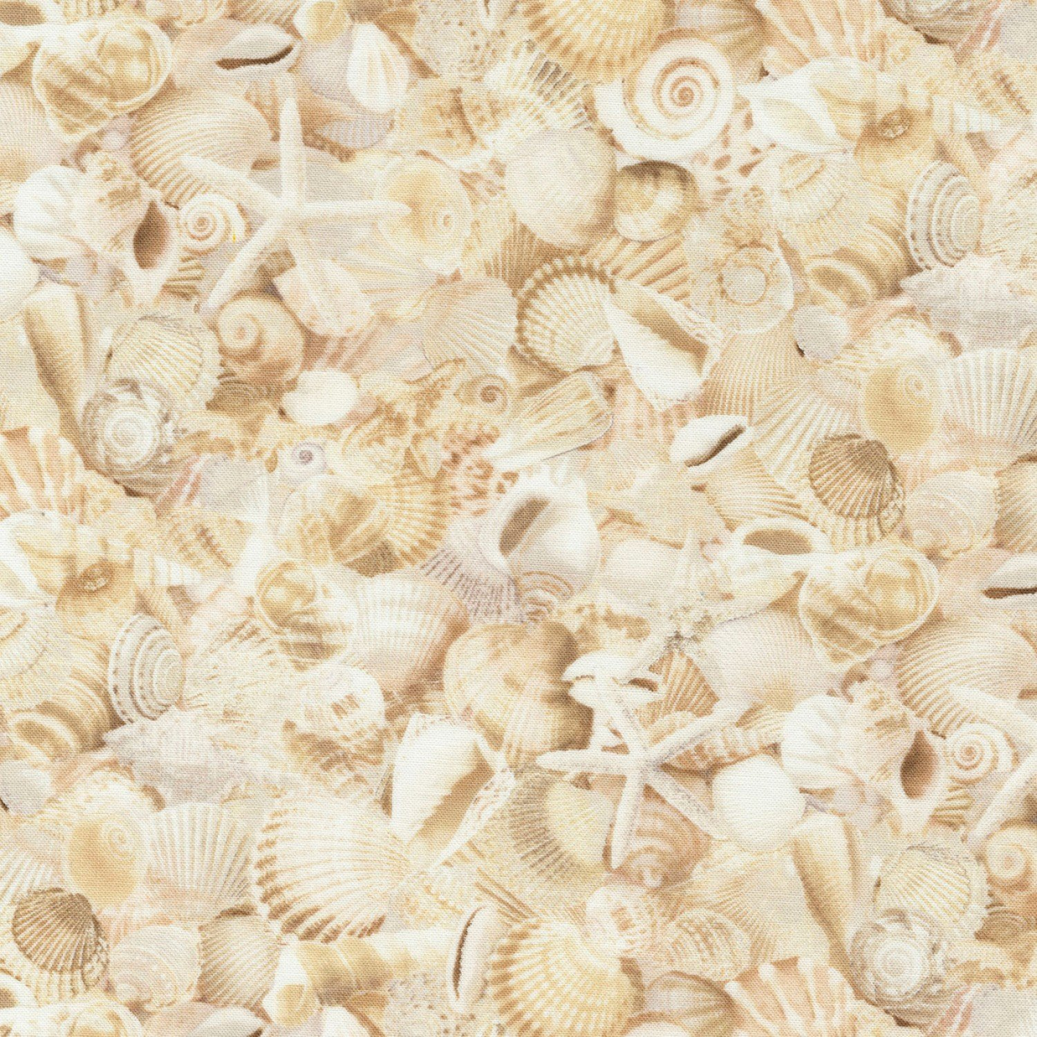 Welcome to the Beach C6743 Packed Seashells by Timeless Treasures