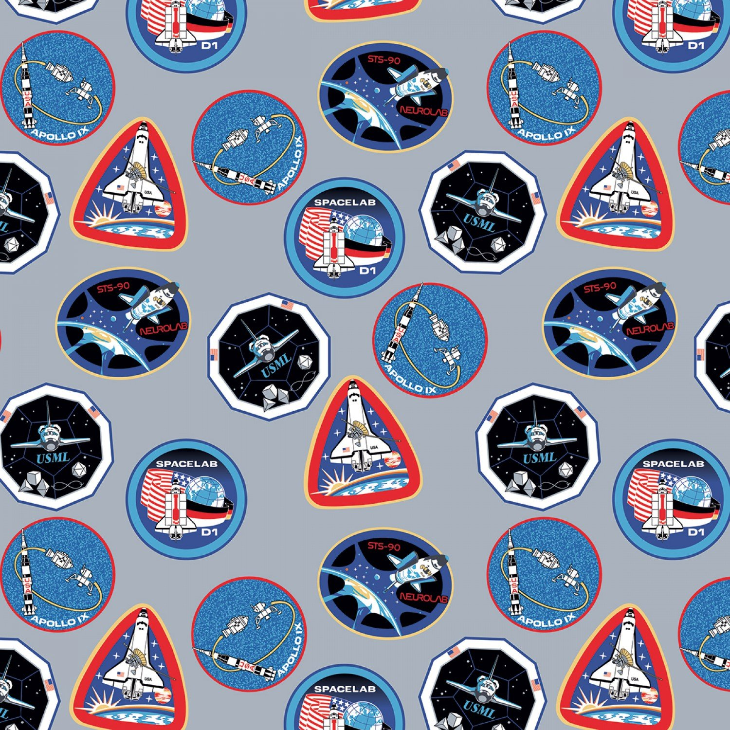 NASA C7802R-Gray Patches from Riley Blake Designs