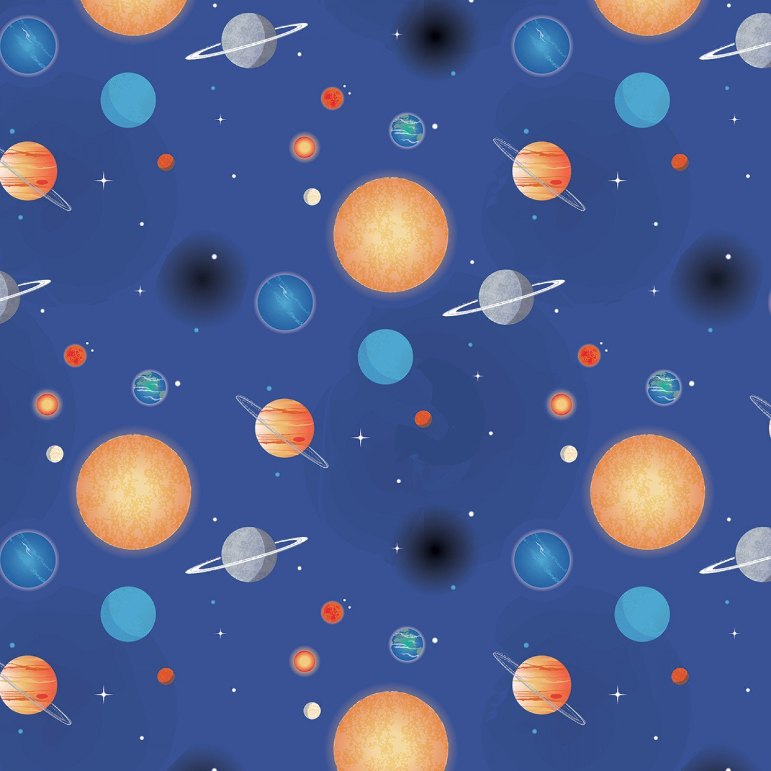 NASA C7803R-Blue Planets from Riley Blake Designs