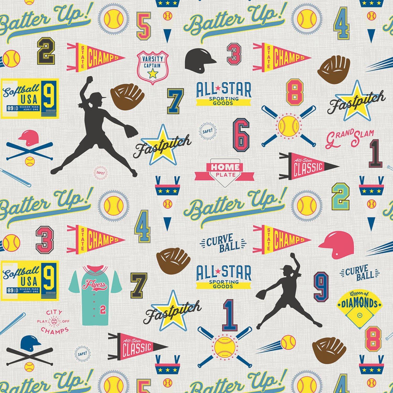 Varsity Softball C7962 Gray by Deena Rutter for Riley Blake