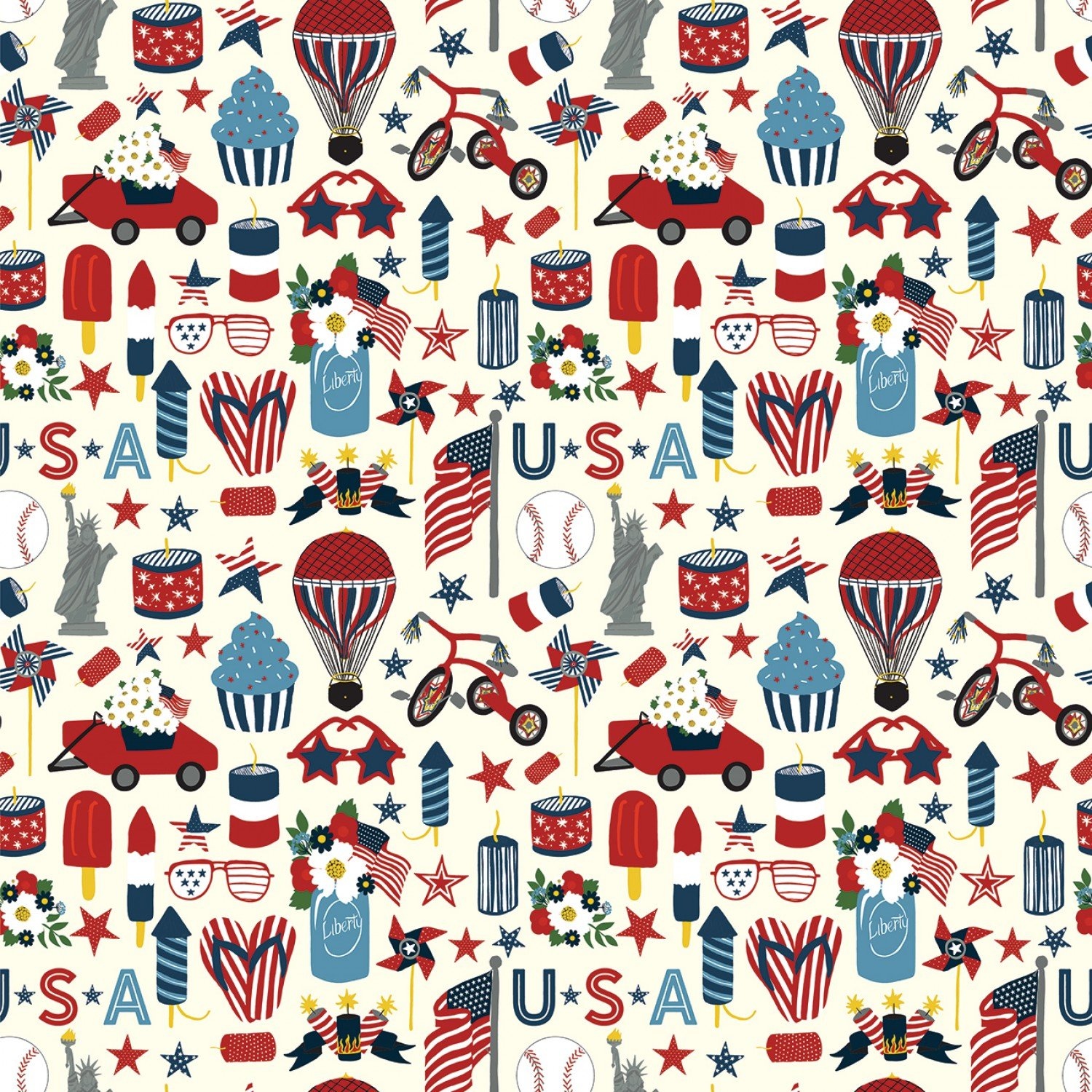 Celebrate America C8282-Cream by Echo Park for Riley Blake Fabrics