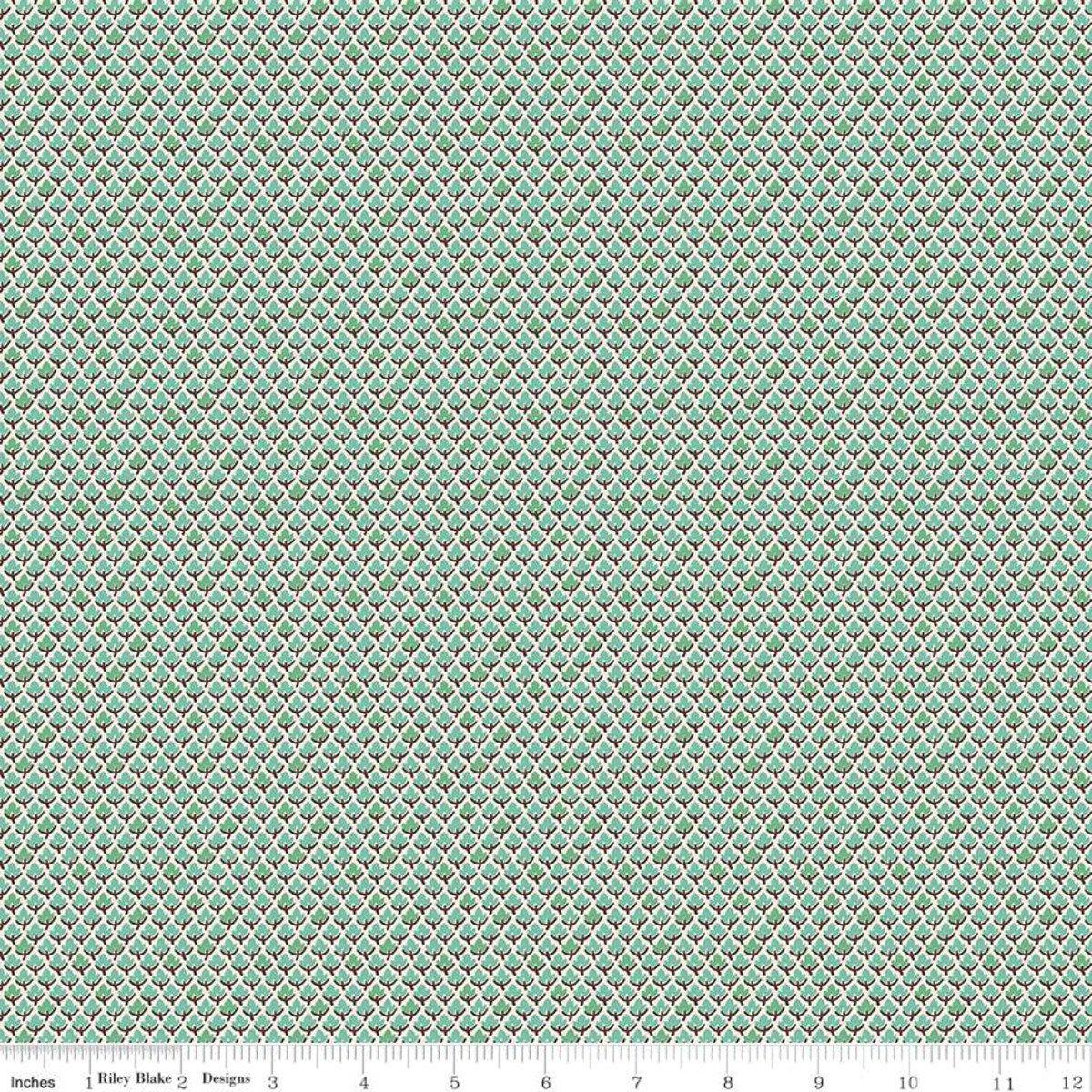 Prim C9700 Leaves Sea Glass by Lori Holt for Riley Blake Designs