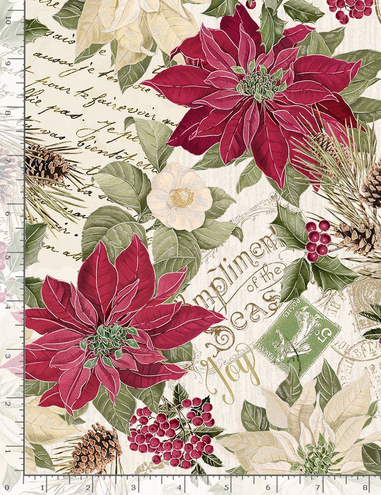 Metallic Poinsettas on Text Holiday-CM7755 from Timeless Treasures