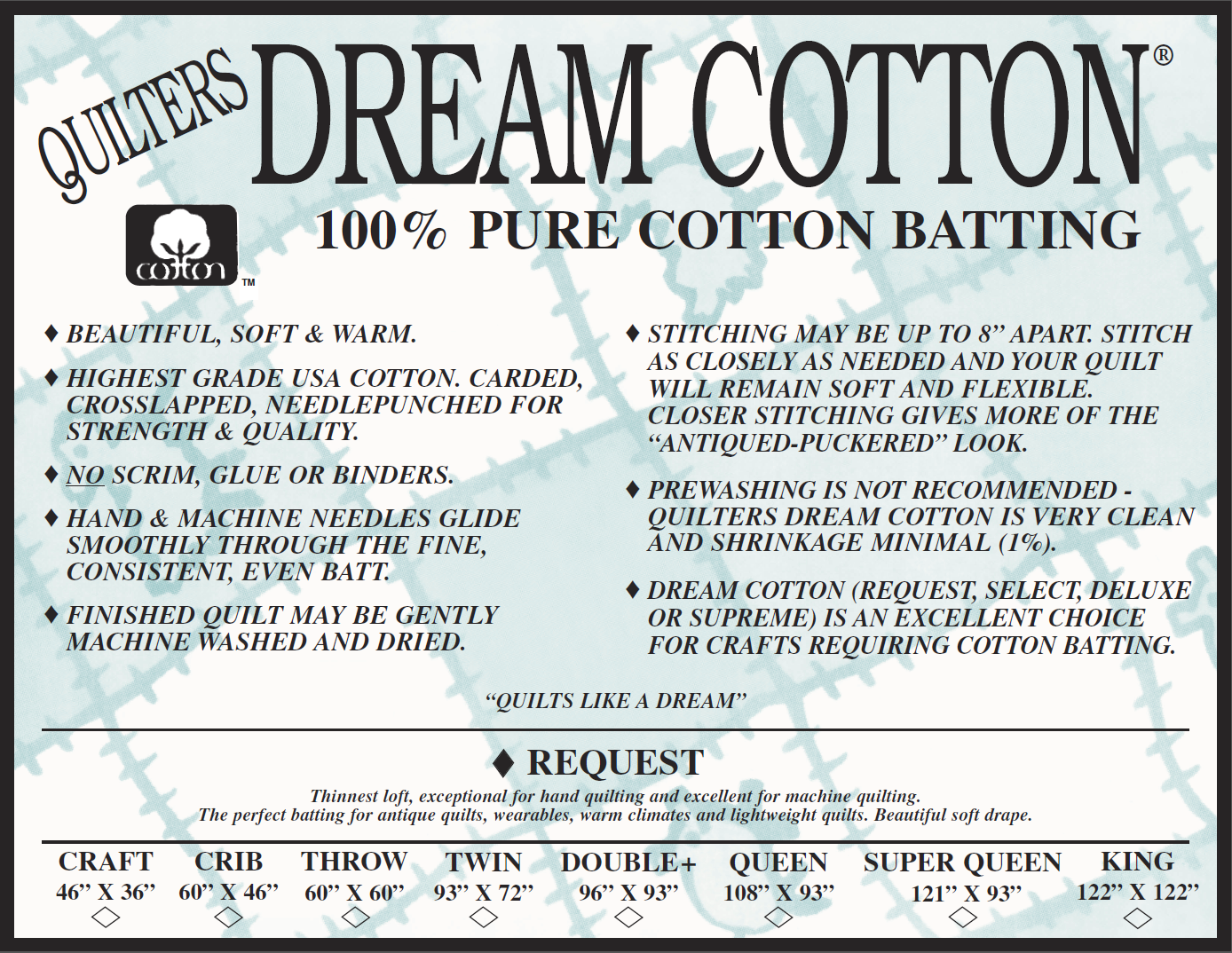 Batting -Queen Cotton Request Natural Quilter's Dream