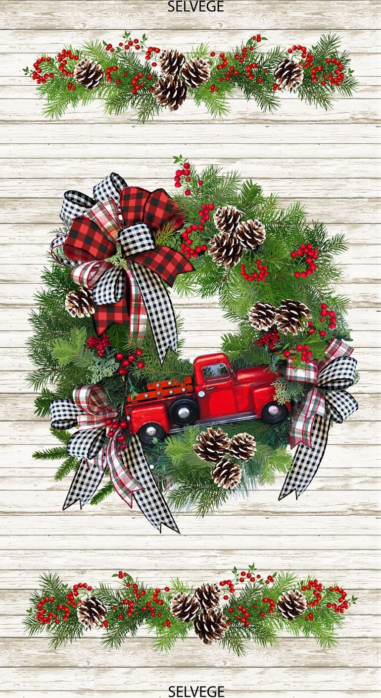 Red Truck Wreath Panel C7825 from Timeless Treasures