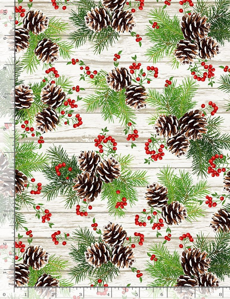 Hanging Pinecones & Berries C7826 Multi from Timeless Treasures