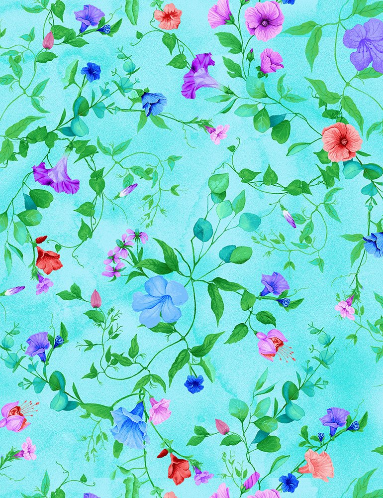 Fairy Fantasy CD7242 Allover Leavy Vines & Blooms Aqua by Chong-a Hwang for Timeless Treasures Fabrics