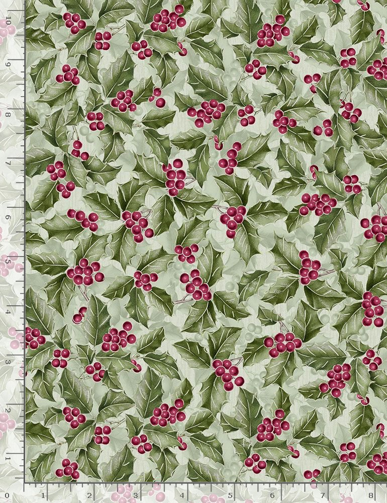 Metallic Holly Berries Holiday-CM7761 Green from Timeless Treasures