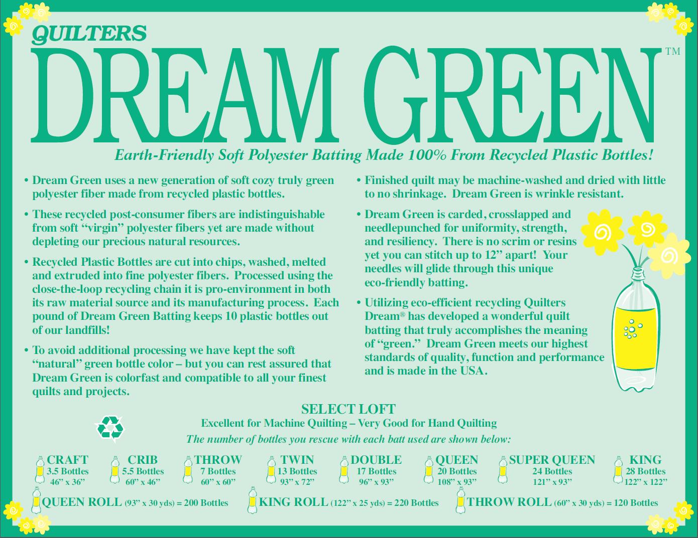 Batting - Quilter's Dream Green Throw