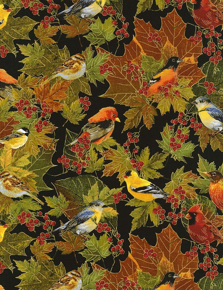 Harvest Birds CM6143 Black by Timeless Treasures