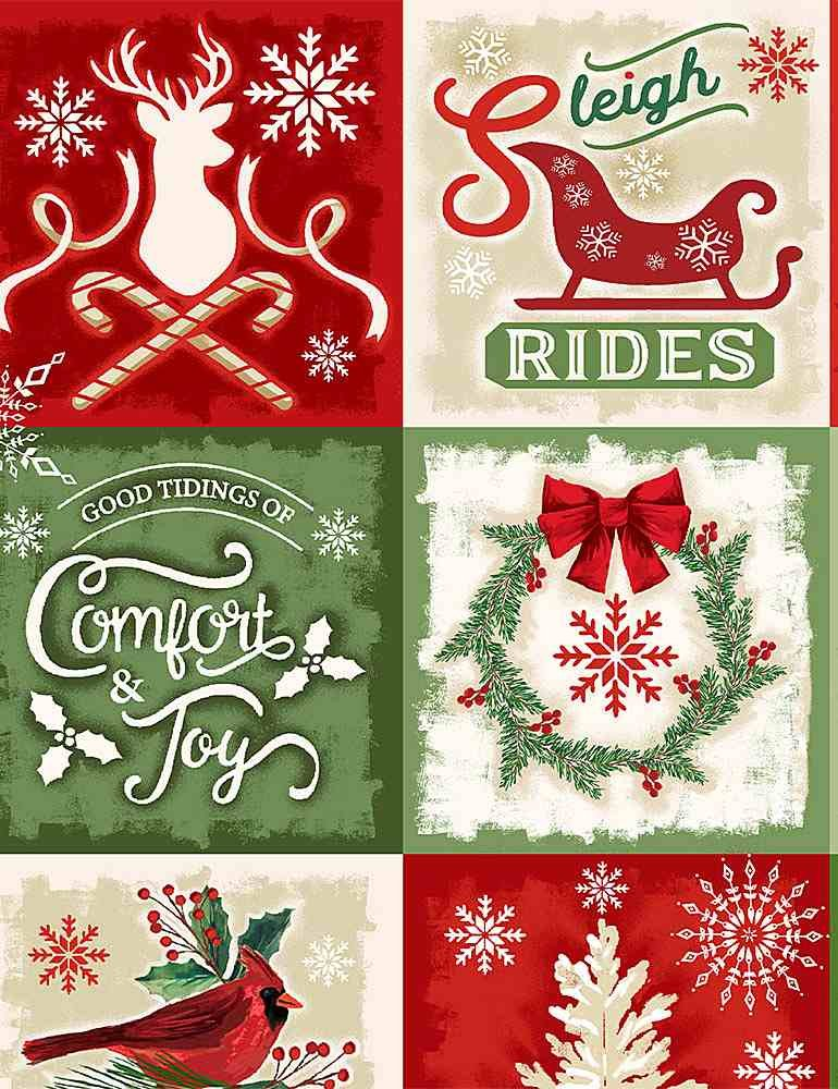 Comfort & Joy C8654 Christmas Squares from Timeless Treasures