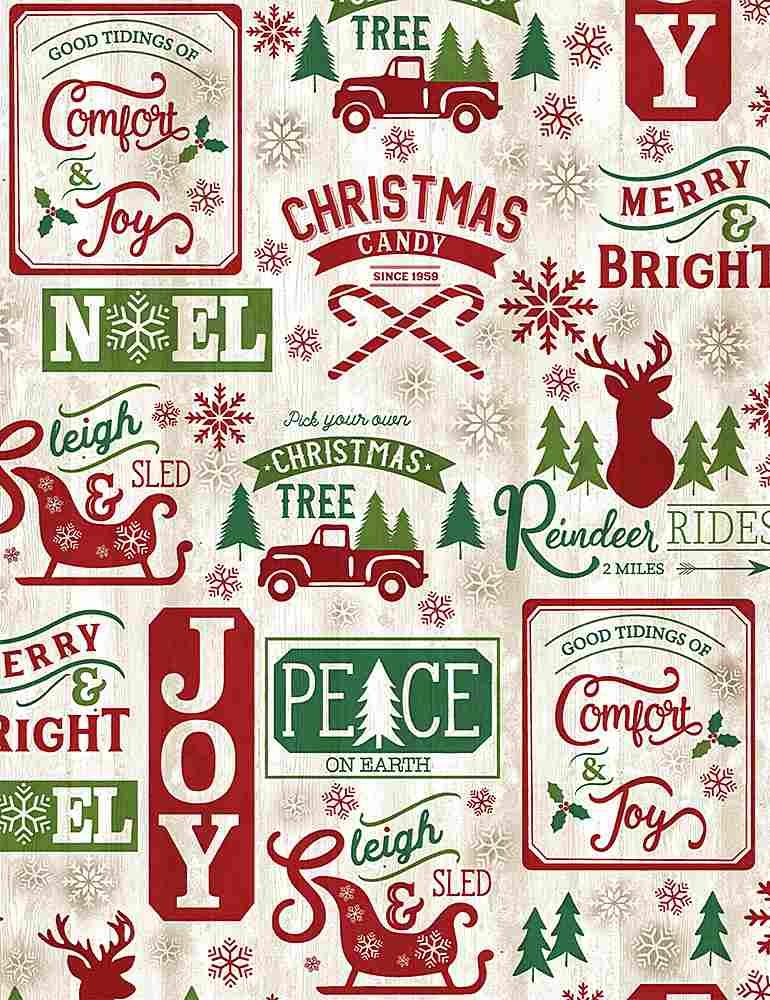 Comfort & Joy C8655 Christmas Patch on Wood from Timeless Treasures