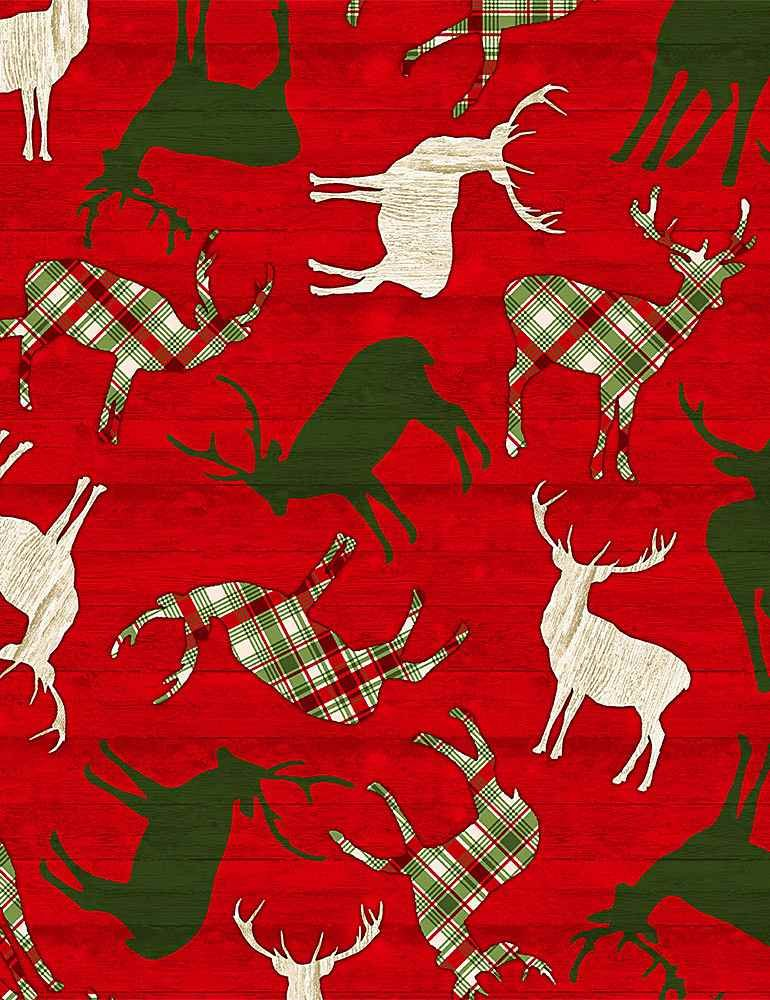 Comfort & Joy C8656 Reindeer on Red Wood from Timeless Treasures