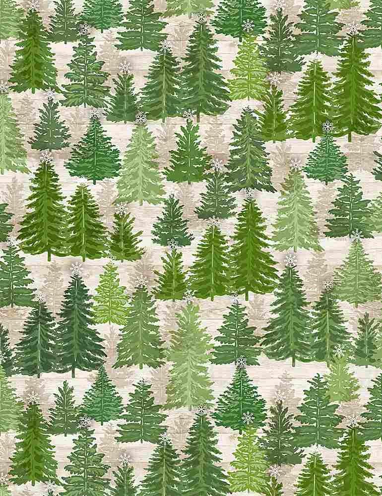 Comfort & Joy C8657 Pine Trees on Wood from Timeless Treasures
