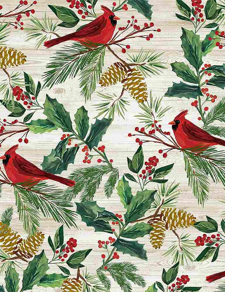 Comfort & Joy C8658 Red Cardinals on Wood from Timeless Treasures