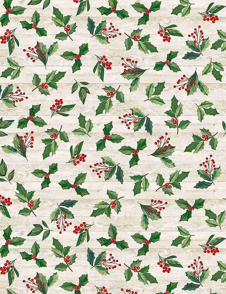 Comfort & Joy C8659 Holly & Leaves from Timeless Treasures