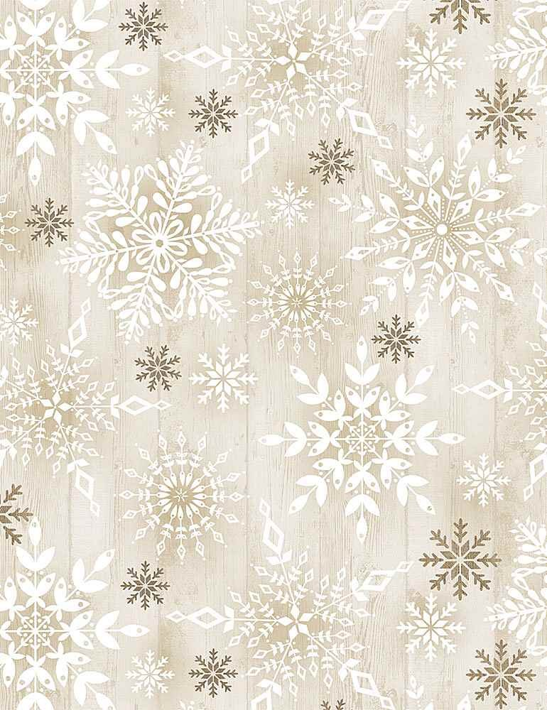 Comfort & Joy C8660 Snowflakes on Wood from Timeless Treasures