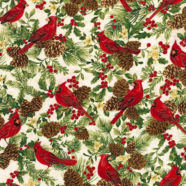 Holiday CM5961-White Cardinals & Holly from Timeless Treasures