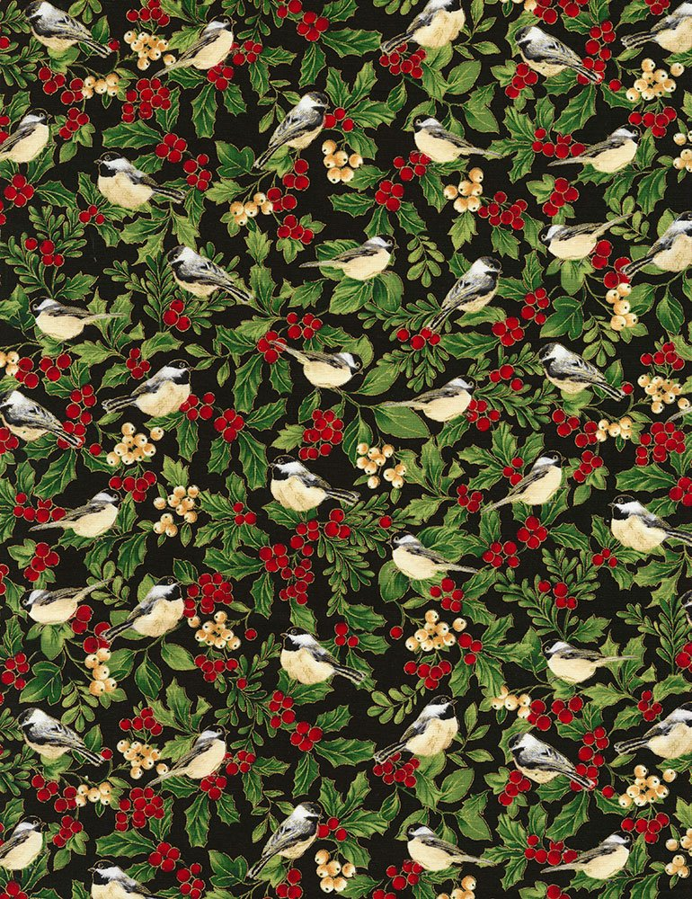 Holiday CM5968-Black Birds & Holly from Timeless Treasures