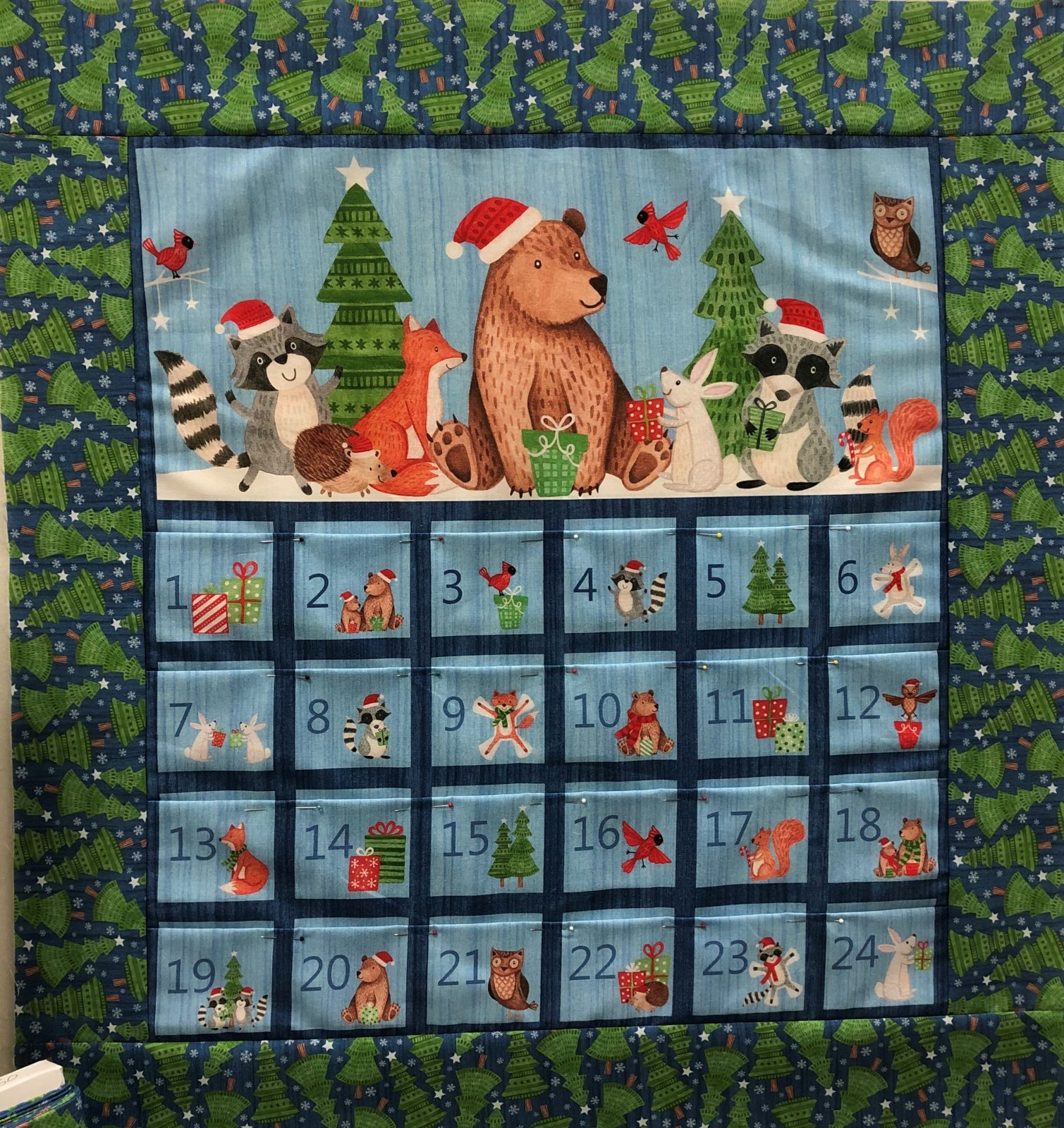 Bearly Christmas Advent Calendar Wall Hanging Quilt Kit