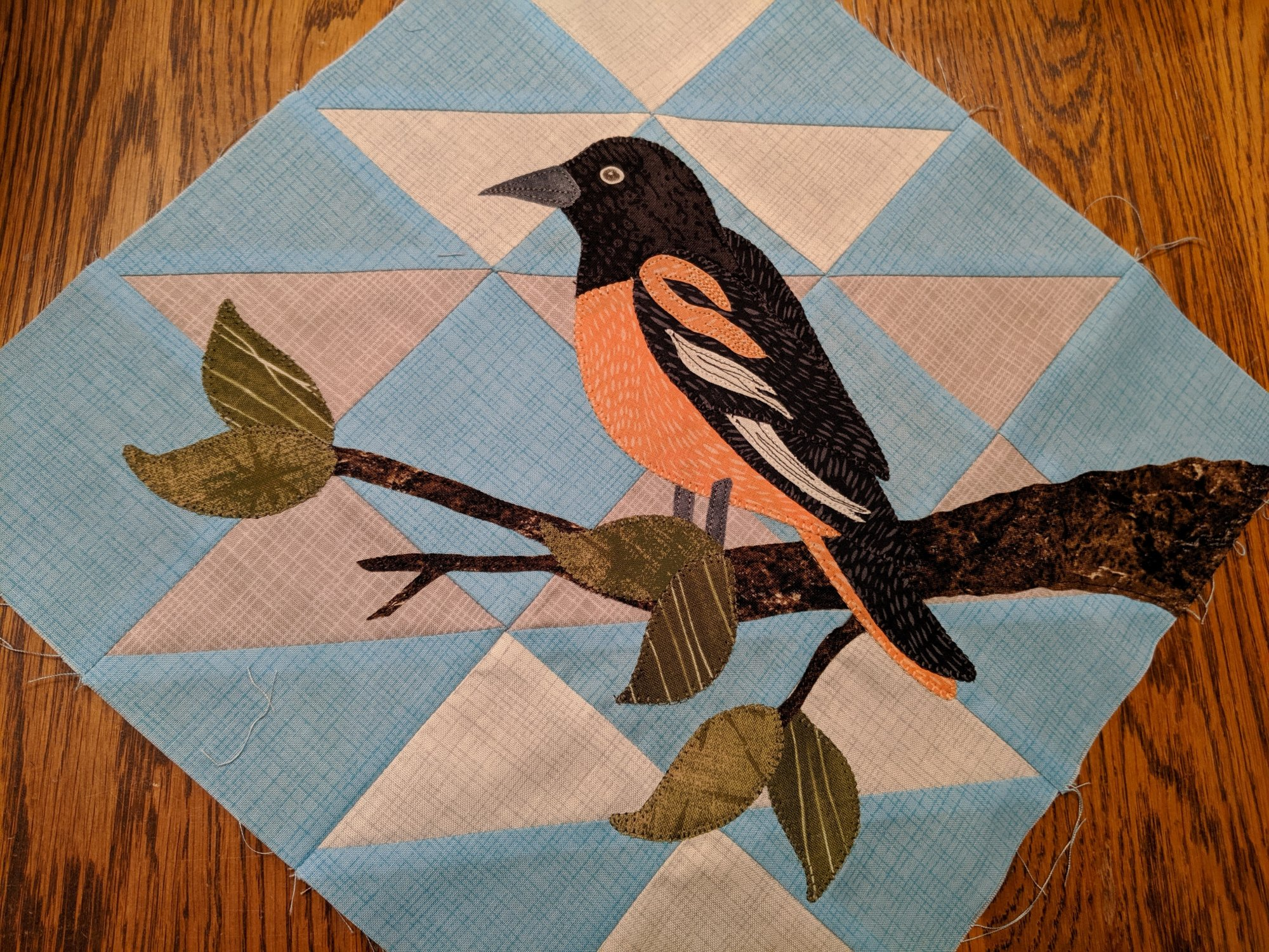 Baltimore Oriole Bird Block Kit SWD 2020 Quilts Around the Bay