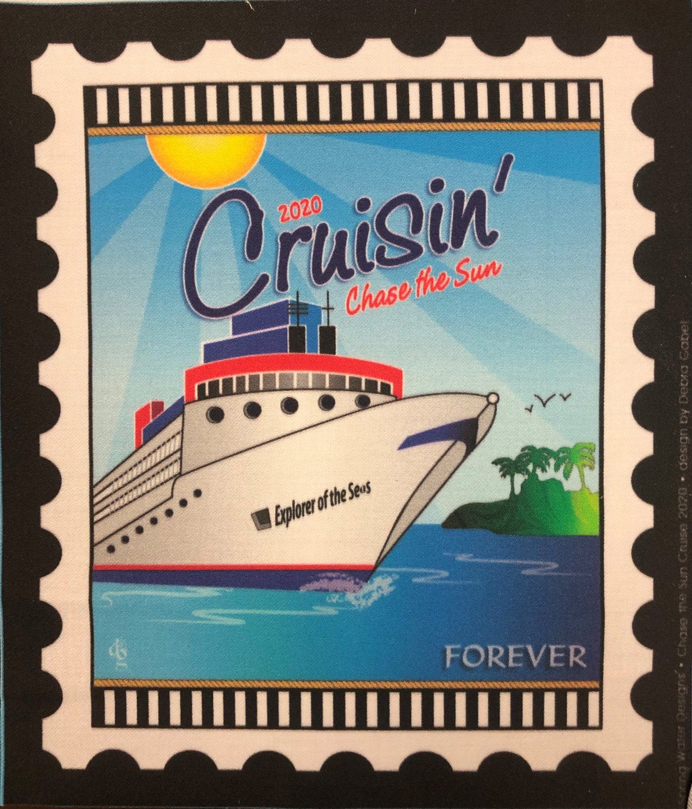 Chase the Sun Cruising Mini Stamp Fabric Panel 6 by 7