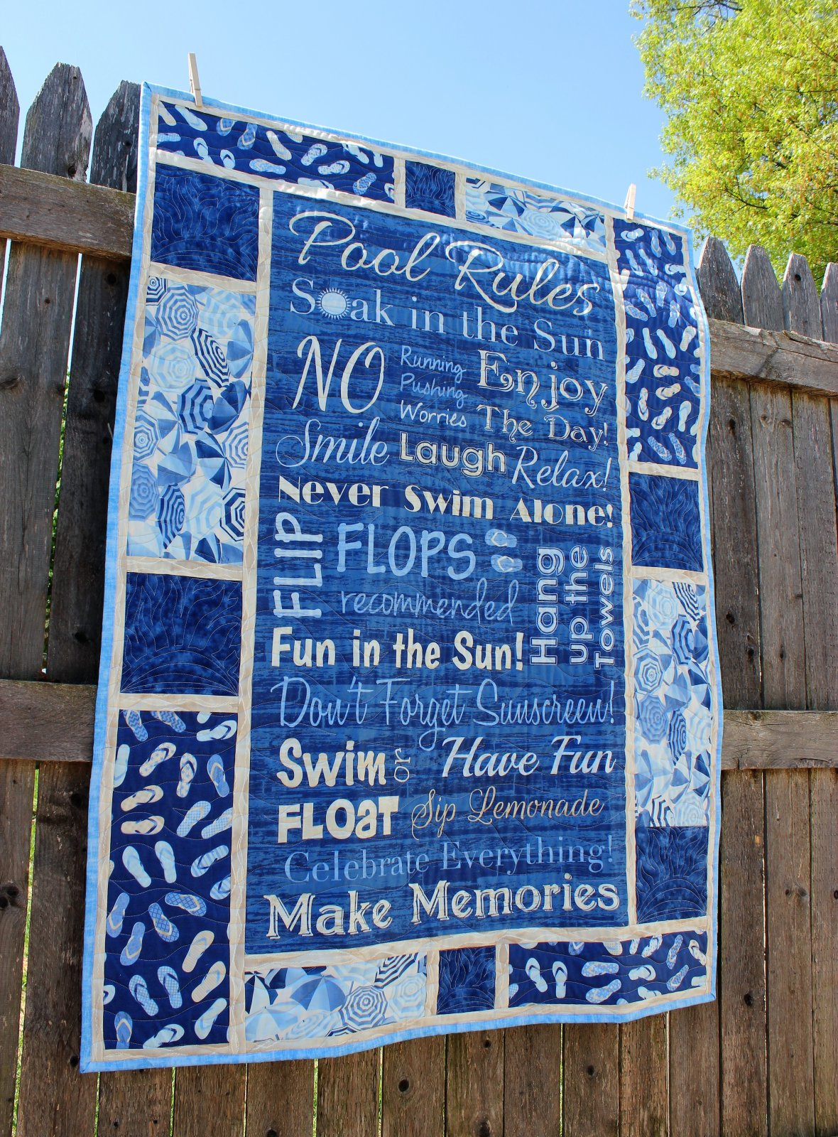Pool Rules Quilted Wall Hanging or Throw Quilt