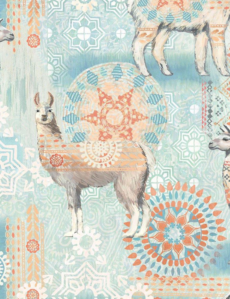 Llamas JB-C7196-Aqua Timeless Treasures Fabrics