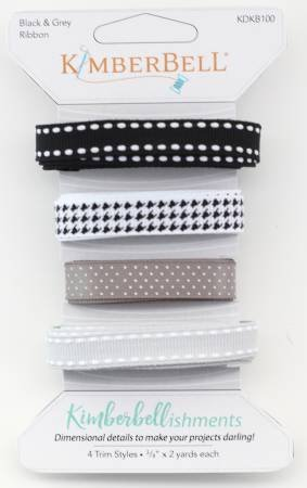 Kimberbellishments Ribbon Trims by KimberBell - Black & Grey Ribbon
