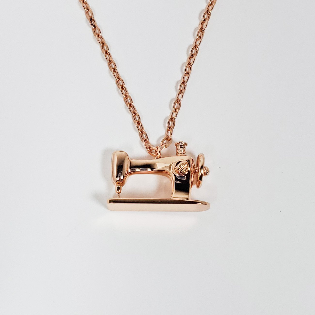 Sewing Machine Long Pendant Necklace Rose Gold from the Quilt Spot