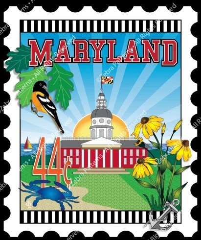 Maryland Mini Stamp Panel by Zebra Patterns