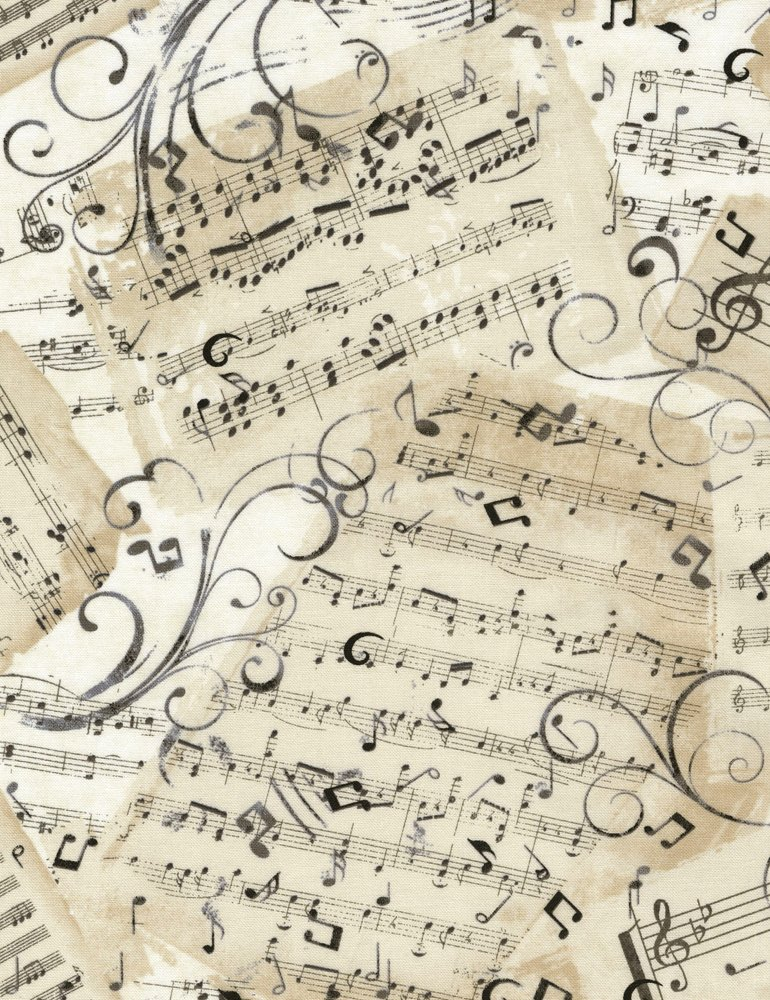 Music C4830 Sheets Natrual from Timeless Treasures