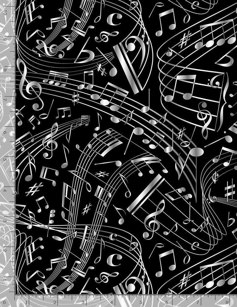 Swirling Music Notes C7587 Black from Timeless Treasures Fabrics