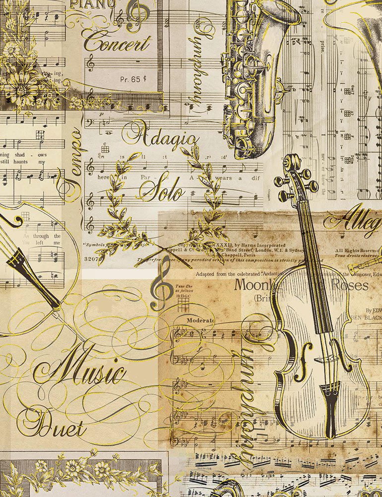 Musical Patchwork CM7307 Antique from Timeless Treasures