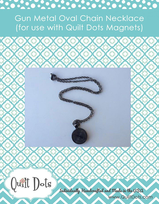 Quilt Dots Oval Chain - Gun Metal