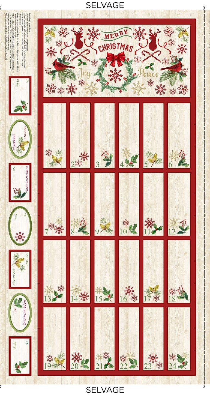 Comfort & Joy C8653 Christmas Advent Calendar Panel from Timeless Treasures