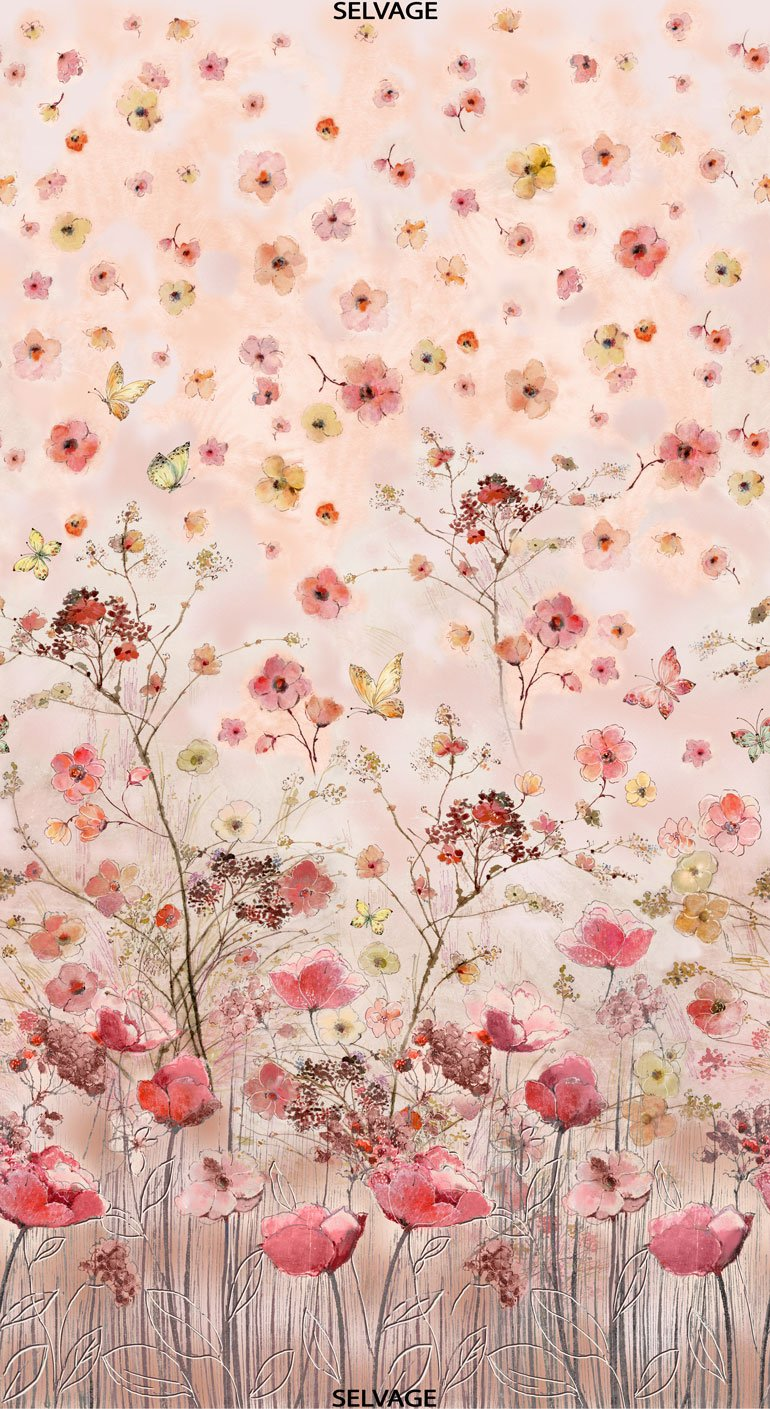 Floral Study Panel CD7189  by Alice Kennedy for Timeless Treasures