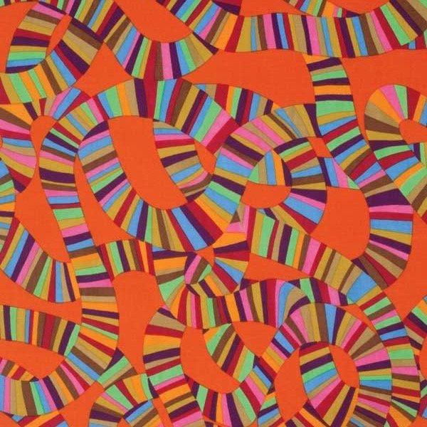Kaffe Fassett Collective Roller Coaster PWBM049 Orange from Free Spirit Fabrics