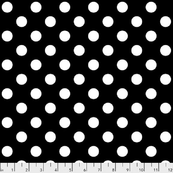 Linework PWTP118 Pom Poms Black & White by Tula Pink for FreeSpirit