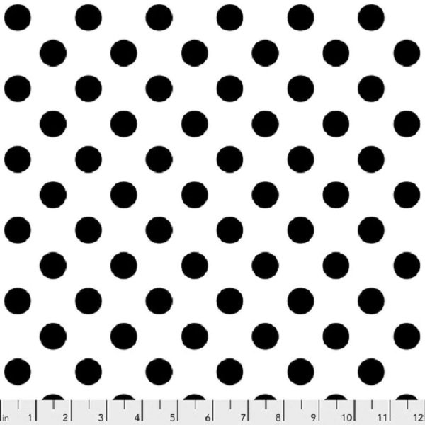Linework PWTP118 Pom Poms White and Black by Tula Pink for FreeSpirit