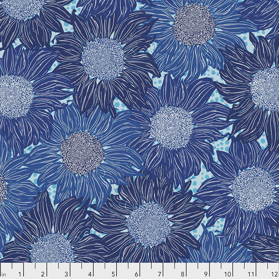 Murmur PWVW002.BLUE Sunflower by Valori Wells for Free Spirit