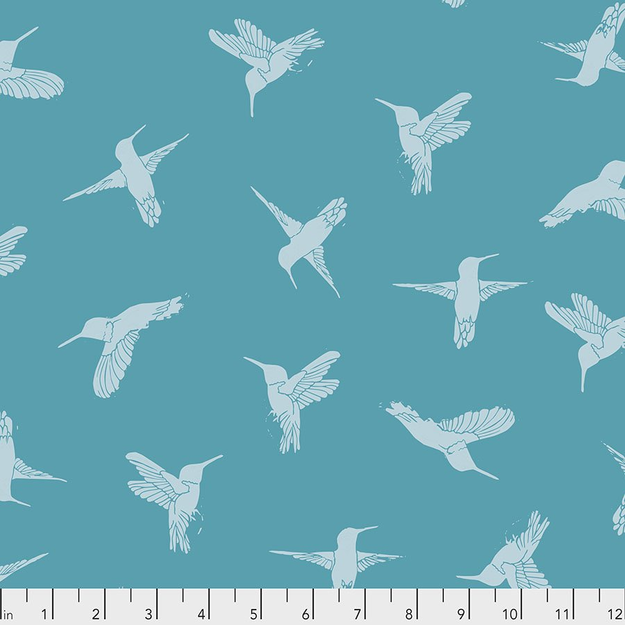 Murmur PWVW003.TURQUOISE Humming Birds by Valori Wells for Free Spirit