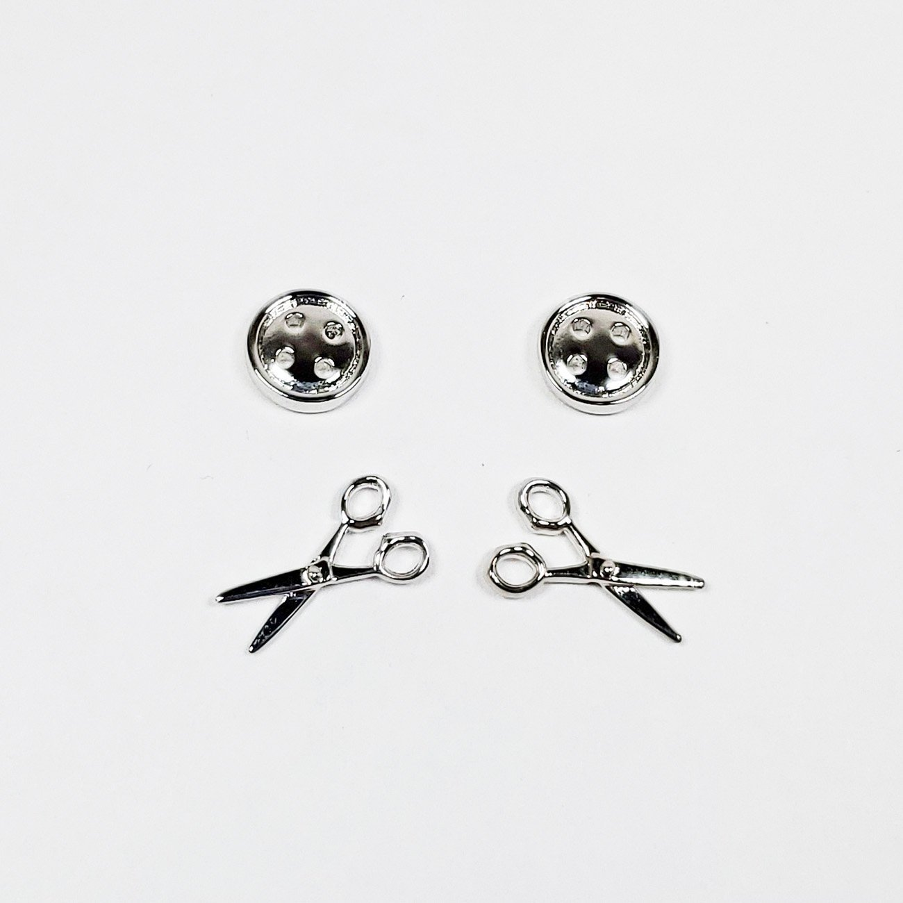 Button & Scissors Post Earrings Silver Set of 2 from the Quilt Spot