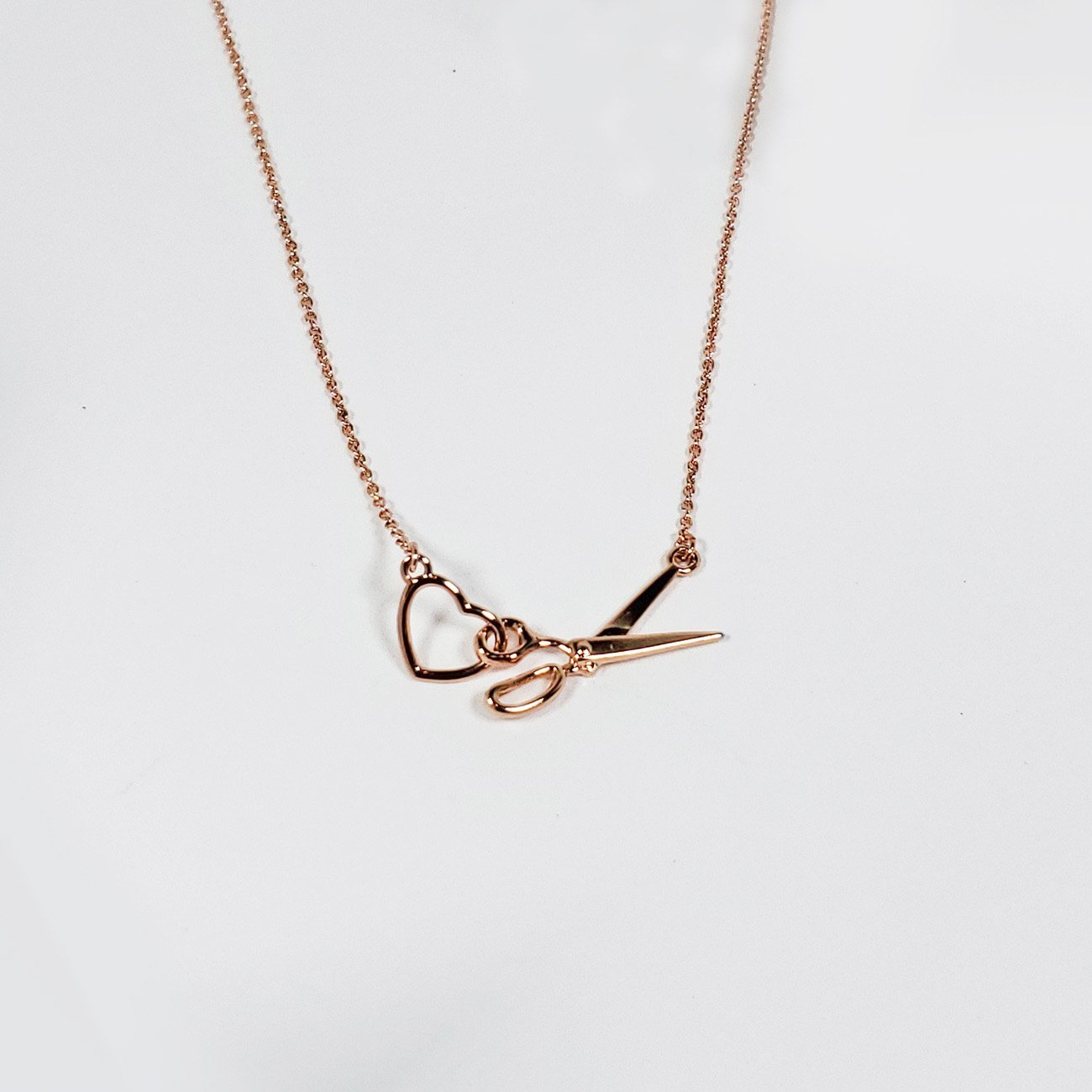 Scissors/Heart Charm Necklace Rose Gold from the Quilt Spot
